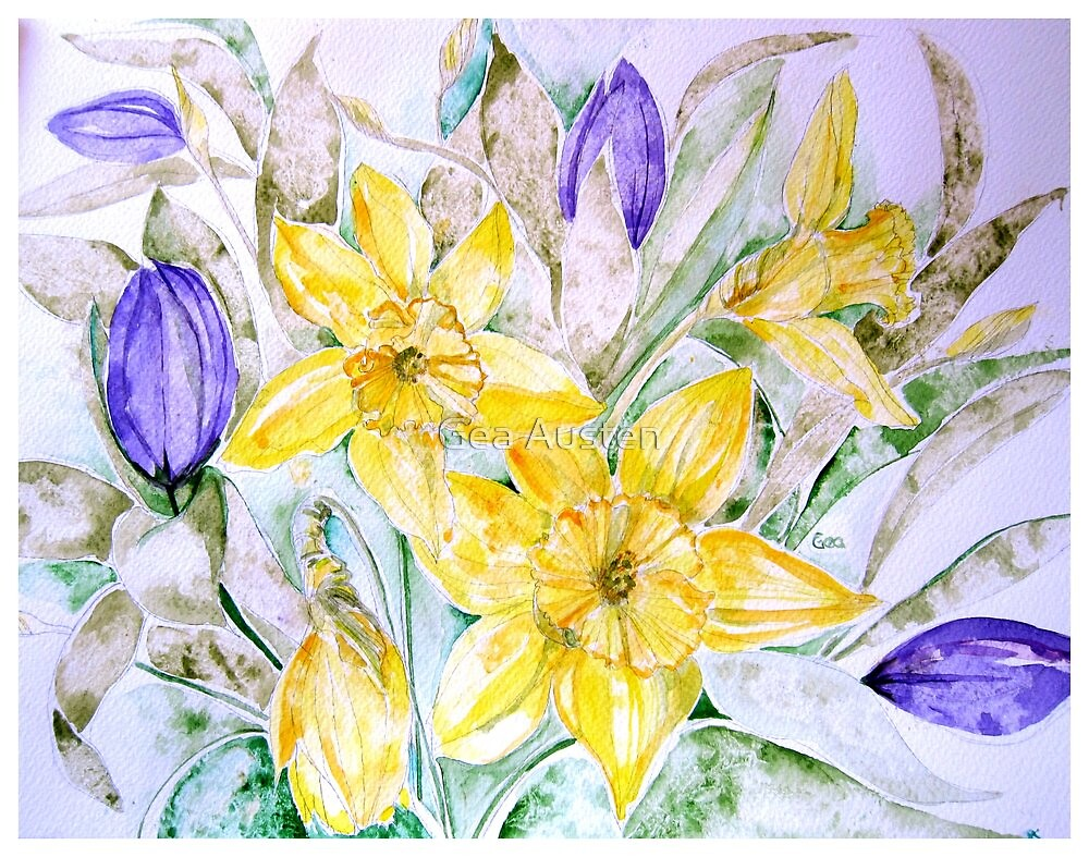 DAFFODILS AND TULIPS 3 45 by Gea Austen