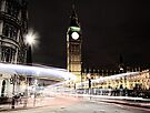 Big Ben with Light Trails by Jasna