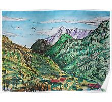 Watercolor Sketch - A View in the Direction of Saint Gotthard Pass. Ticino, Switzerland Poster