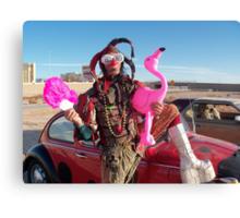 Jester, Flamingo & fan Canvas Print