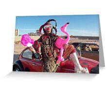 Jester, Flamingo & fan Greeting Card