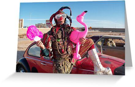 Jester, Flamingo & fan by jollykangaroo