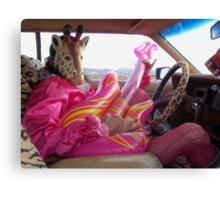 Giraffe Man plays guitar & drives Canvas Print