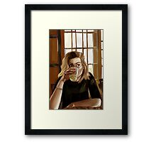 Girl with blond hair and blue eyes drinking lemonade Framed Print