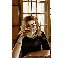 Girl with blond hair and blue eyes drinking lemonade Photographic Print