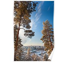 City horizon on a cloudless winter day Poster