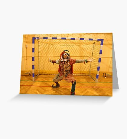 Jester Playing Soccer Greeting Card