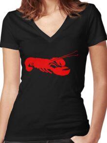Lobster Outline Women's Fitted V-Neck T-Shirt