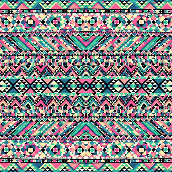 pink turquoise girly aztec andes tribal pattern by
