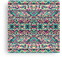 Pink Turquoise Girly Aztec Andes Tribal Pattern Canvas Print
