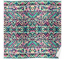 Pink Turquoise Girly Aztec Andes Tribal Pattern Poster