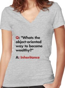 Whats the object-oriented way to become wealthy? Women's Fitted V-Neck T-Shirt