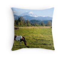 Paint Horse and Mount Rainier Throw Pillow