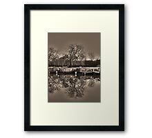 Winter on the Canal Sepia Framed Print