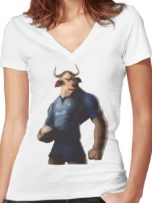 SOUTH AFRICA SEXY SUPER THE BULL RUGBY BLUE BULLS SUPORTER T SHIRT BRAAI BILTONG Women's Fitted V-Neck T-Shirt