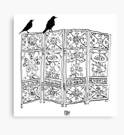 Birds on a screen Canvas Print