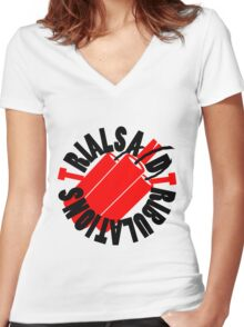 Trials and Tribulations Logo w/ Text Women's Fitted V-Neck T-Shirt