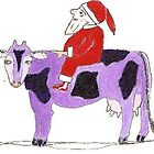 Santa Riding a Purple Cow by OraMorrison