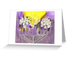 Hanukkah candles lighting outdoor with crowds Greeting Card