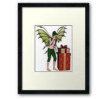 Christmas Fairy Elf Boy with Pile of Presents Framed Print