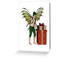 Christmas Fairy Elf Boy with Pile of Presents Greeting Card