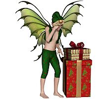Christmas Fairy Elf Boy with Pile of Presents Photographic Print