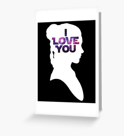 Star Wars Leia 'I Love You' White Silhouette Couple Tee Greeting Card