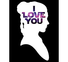 Star Wars Leia 'I Love You' White Silhouette Couple Tee Photographic Print
