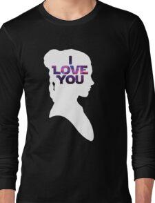 Star Wars Leia 'I Love You' White Silhouette Couple Tee Long Sleeve T-Shirt