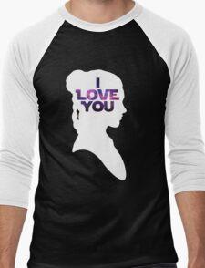 Star Wars Leia 'I Love You' White Silhouette Couple Tee Men's Baseball ¾ T-Shirt