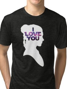 Star Wars Leia 'I Love You' White Silhouette Couple Tee Tri-blend T-Shirt