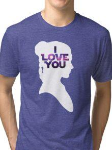 Star Wars Leia 'I Love You' White Silhouette Couple Tee Tri-blend T-Shirt