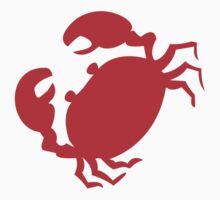 Cute Red Crab Outline One Piece - Short Sleeve