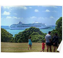 Sea Princess in the Bay of Islands, New Zealand.......! Poster