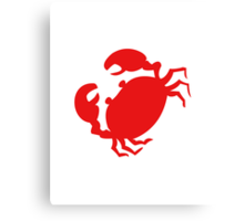 Cute Red Crab Outline Canvas Print