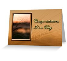Congratulations It's A Boy Grass Sunset Greeting Card
