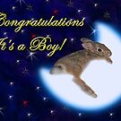 Congratulations It&#x27;s A Boy Bunny Rabbit by jkartlife