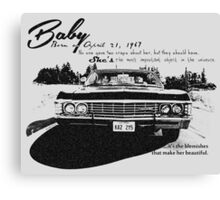 Baby Supernatural 67 Impala Canvas Print