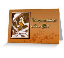 Congratulations It's A Girl Leaf Greeting Card