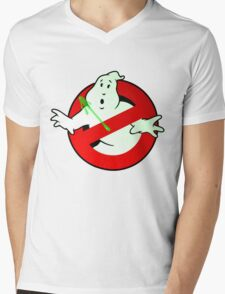 Who Busts The Ghost Busters? (logo) v3 Mens V-Neck T-Shirt