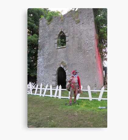 Jester in front of castle Canvas Print