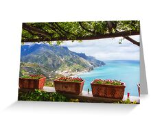 Scenic Amalfi Coast View from Under a Trellis Greeting Card