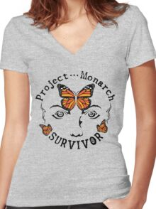 Project Monarch Survivor Women's Fitted V-Neck T-Shirt