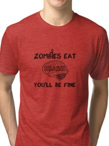 Zombies Eat Brains Tri-blend T-Shirt
