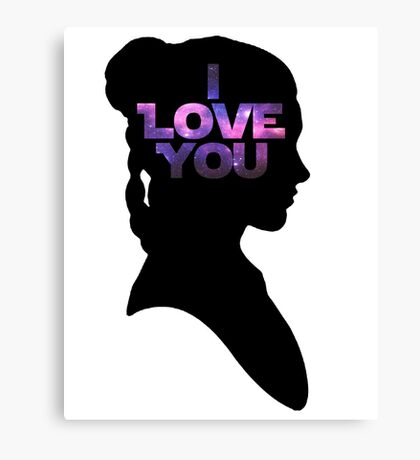 Star Wars Leia 'I Love You' Black Silhouette Couple Tee Canvas Print