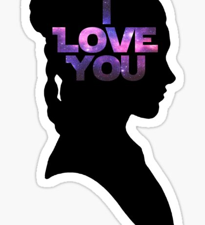 Star Wars Leia 'I Love You' Black Silhouette Couple Tee Sticker