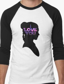 Star Wars Leia 'I Love You' Black Silhouette Couple Tee Men's Baseball ¾ T-Shirt