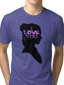 Star Wars Leia 'I Love You' Black Silhouette Couple Tee Tri-blend T-Shirt