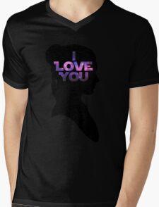 Star Wars Leia 'I Love You' Black Silhouette Couple Tee Mens V-Neck T-Shirt