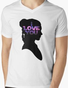 Star Wars Leia 'I Love You' Black Silhouette Couple Tee Mens V-Neck T-Shirt